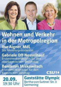 """""""Wohnen und Verkehr in der Metropolregion"""" - mit Ilse Aigner @ Gaststätte Olympic"""