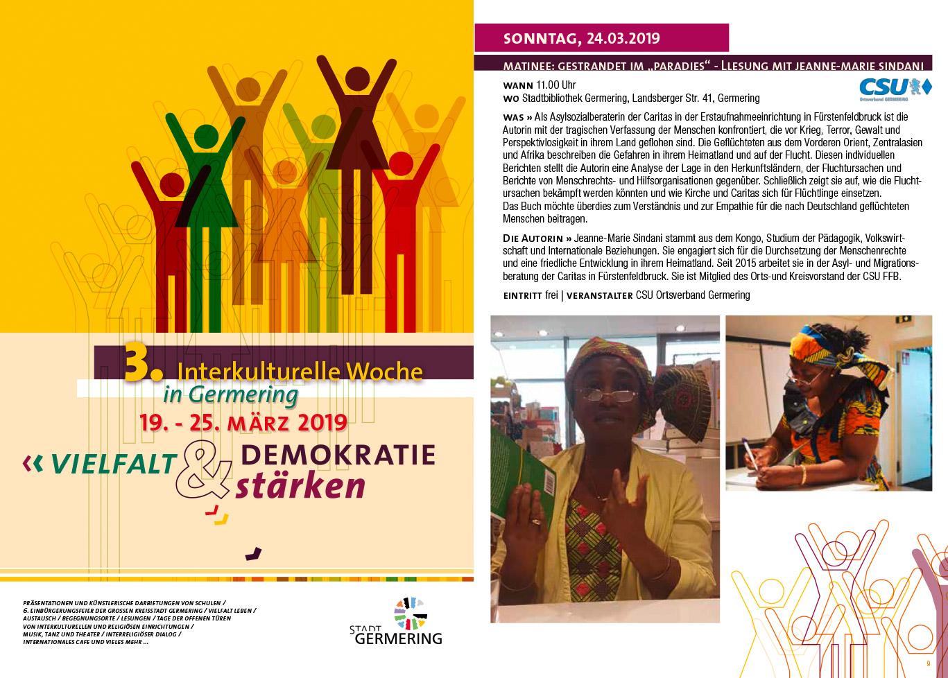 Matinee mit Jeanne-Marie Sindani im Rahmen der Interkulturellen Woche Germering 2019 @ Stadtbibliothek Germering